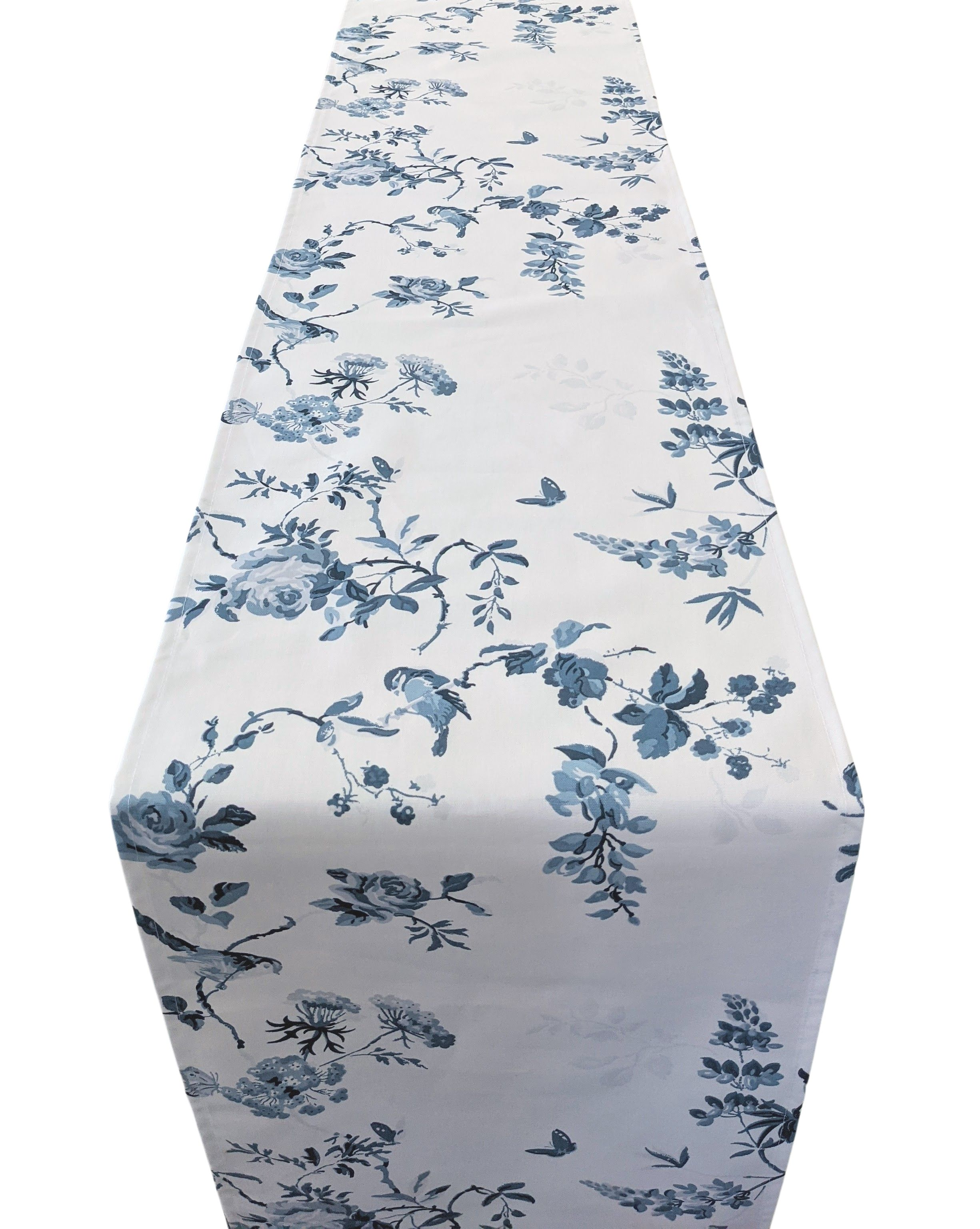 Table Runner in Cath Kidston Blue and White Birds and Roses